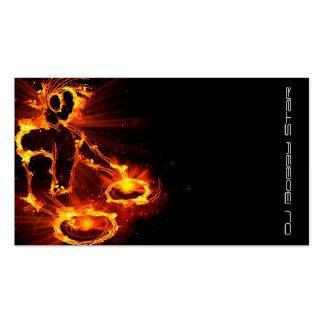 Ein cooles loderndes DJ auf Feuergeschäftskarte Visitenkarten Vorlage
