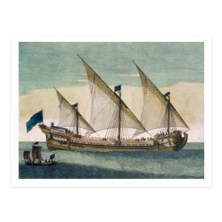 Ein drei-bemastetes Galleass laufend durch Segel, Postkarte