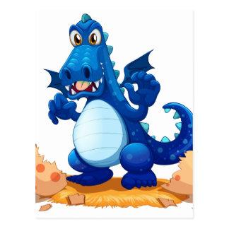 Ein eben ausgebrüteter blauer Drache Postkarte