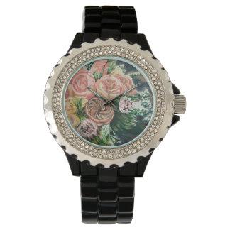 Ein einer netten Blumenstrauß-Uhr Uhr