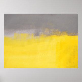 """""""Ein einfaches Abstrct"""" graues und gelbes Poster"""