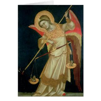 Ein Engel, der ein Soul, c.1348-55 wiegt Karte