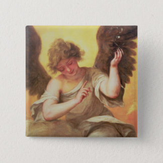 Ein Engel, der eine Glasflasche hält Quadratischer Button 5,1 Cm