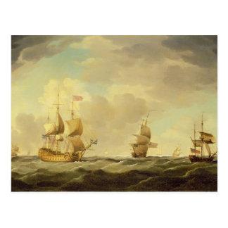 Ein englisches Flaggschiff unter einfachem Segel Postkarte