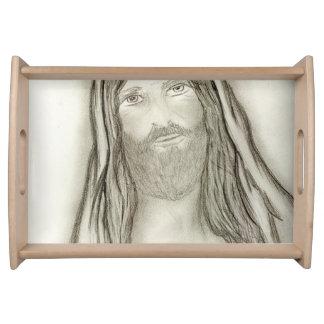Ein ernster Jesus Serviertablett