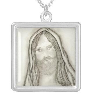Ein ernster Jesus Versilberte Kette
