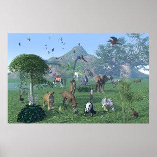 Ein exotisches Plakat Szene des wilden Tieres