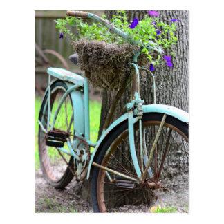 Ein Fahrrad im Garten Postkarte