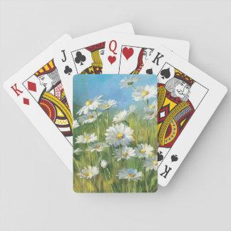 Ein Feld der weißen Gänseblümchen Spielkarten