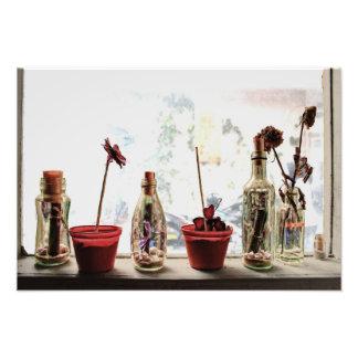 ein Fenster und Blumen - Foto-Druck Fotodruck