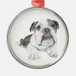 Ein frecher Bulldoggen-Welpe Silbernes Ornament