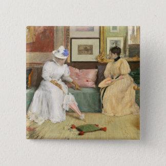 Ein freundlicher Anruf, 1895 (Öl auf Leinwand) Quadratischer Button 5,1 Cm