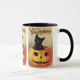 Ein fröhliches Halloween, Vintage schwarze Katze Tasse