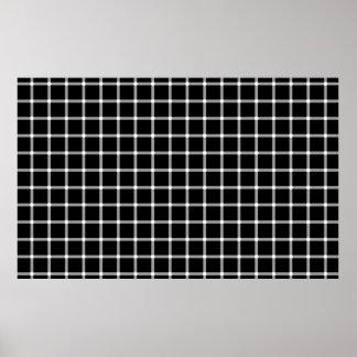 Ein funkelndes Schwarzweiss-Gitter optisches illus Poster