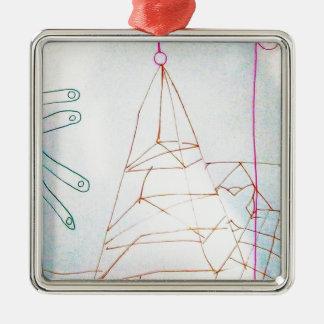 Ein Geometer-Glasperle-Spiel Silbernes Ornament