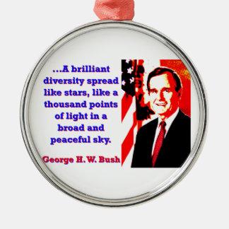 Ein glänzendes Diversity - George H W Bush Rundes Silberfarbenes Ornament