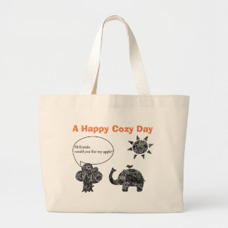 Ein glücklicher gemütlicher Tag eines Elefanten Jumbo Stoffbeutel