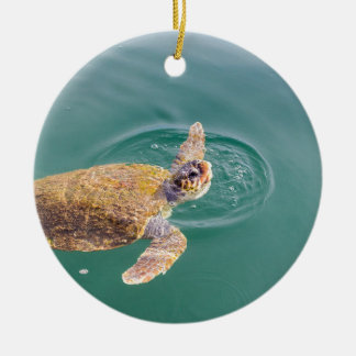 Ein großer Schwimmen-Meeresschildkröte Caretta Rundes Keramik Ornament