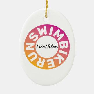 Ein großes Triathlongeschenk für Ihren Freund oder Keramik Ornament