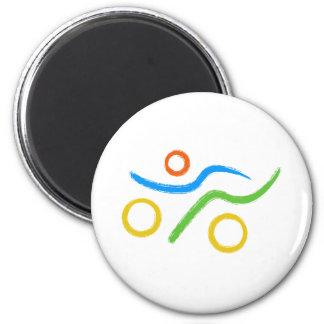 Ein großes Triathlongeschenk für Ihren Freund oder Runder Magnet 5,7 Cm