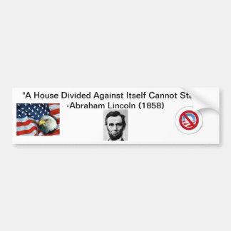 """""""Ein Haus geteilter"""" Anti-Obama-Autoaufkleber"""
