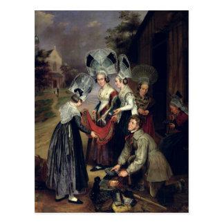Ein Hausierer, der Schals an Frauen von Troyes Postkarte