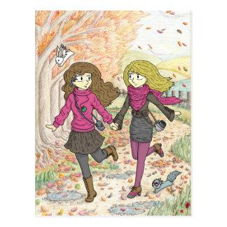 Ein Herbst-Weg Postkarte