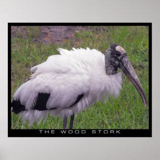 Ein hölzerner Storch Poster