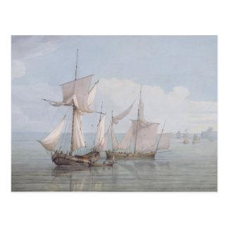 Ein Hoy und ein Lugger mit anderem Verschiffen auf Postkarte