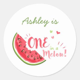 Ein in einer Melone Wassermelone etikettiert Runder Aufkleber