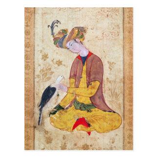 Ein Jäger, der seinen Falken streicht Postkarte