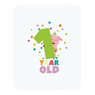 Ein Jahr-erstes Geburtstags-Party Z80cw 10,8 X 14 Cm Einladungskarte