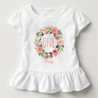 Ein jähriges Geburtstags-Baby BlumenWreath-2 Kleinkind T-shirt