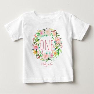 Ein jähriges Geburtstags-Baby BlumenWreath-3 Baby T-shirt
