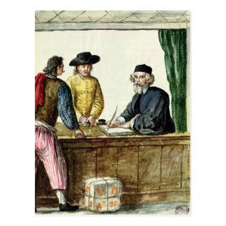 Ein jüdischer Ladenbesitzer mit zwei Kunden Postkarte