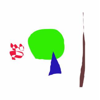 Ein junger Baum, ein toter Baum und eine rote Fotoskulptur Ornament