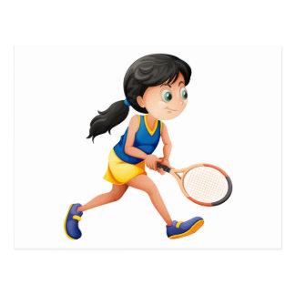 Ein junger weiblicher Spieler, der Tennis spielt Postkarten