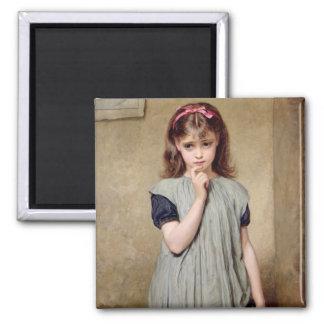 Ein junges Mädchen im Klassenzimmer, 1876 (Öl auf Quadratischer Magnet