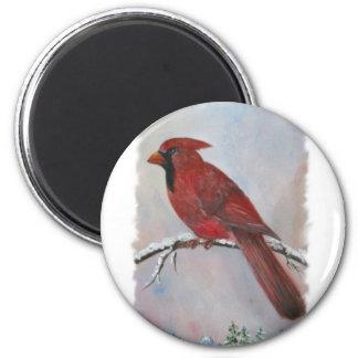 Ein Kardinal für Weihnachten Runder Magnet 5,7 Cm