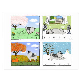 Ein Keeshond genießt die vier Jahreszeiten - Postkarte