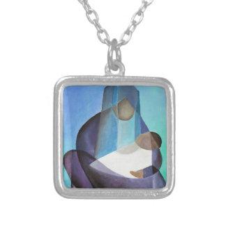 Ein Kind ist geborenes Weihnachten Halskette Mit Quadratischem Anhänger