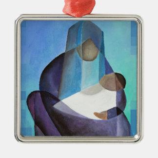 Ein Kind ist geborenes Weihnachten Quadratisches Silberfarbenes Ornament