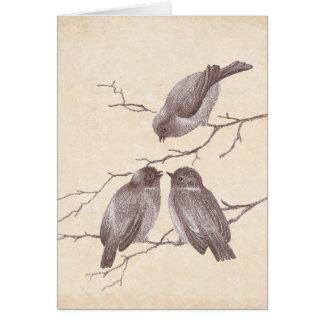 Ein kleiner Vogel sagte mir: Winter-Vogel-antike Karte