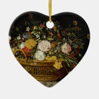 Ein Korb der Blumen - Jan. Brueghel das jüngere Keramik Herz-Ornament