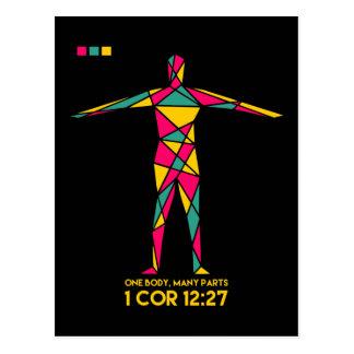 Ein Körper viele Teil-Kubismus (1 Korinther-12:27) Postkarte