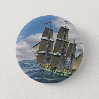 Ein Korvette-Schiff, das vor dem Wind läuft Runder Button 5,7 Cm