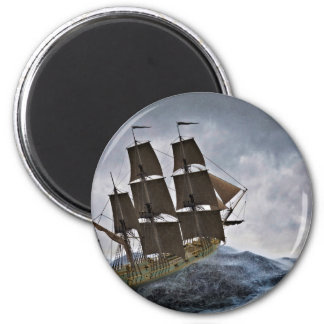 Ein Korvette-Segelschiff in einem Sturm Runder Magnet 5,1 Cm
