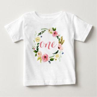 Ein kundenspezifisches Baby-Aquarell-BlumenKranz Baby T-shirt