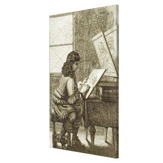 Ein Künstler, der auf eine Stichplatte, gedruckt k Leinwand Drucke