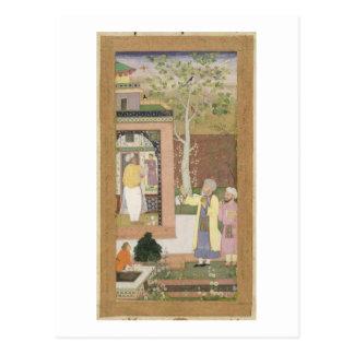 Ein Künstler, der den Innenraum eines Garten pavi Postkarte
